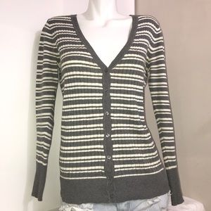 George White Grey Buttoned Ribbed Cardigan Sweater
